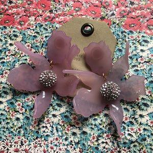 NWT Anthro Lele Sadoughi purple lily earrings